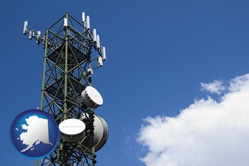 a telecommunications tower, with blue sky background - with Alaska icon