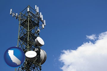 a telecommunications tower, with blue sky background - with California icon