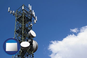 a telecommunications tower, with blue sky background - with Colorado icon