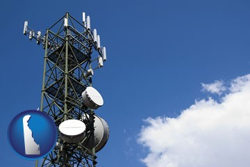 a telecommunications tower, with blue sky background - with Delaware icon