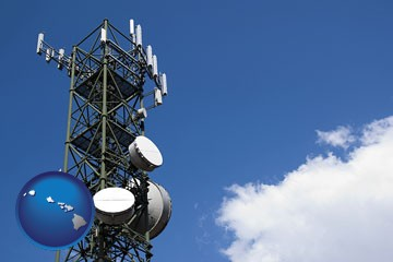 a telecommunications tower, with blue sky background - with Hawaii icon