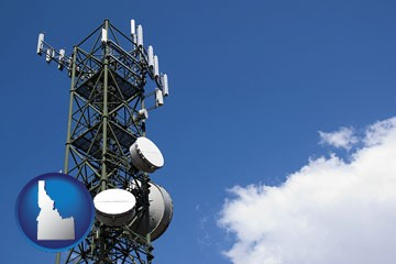 a telecommunications tower, with blue sky background - with Idaho icon