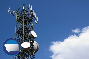 a telecommunications tower, with blue sky background - with Montana icon