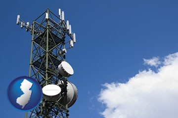 a telecommunications tower, with blue sky background - with New Jersey icon