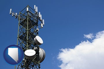 a telecommunications tower, with blue sky background - with Nevada icon