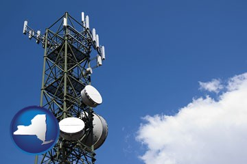 a telecommunications tower, with blue sky background - with New York icon