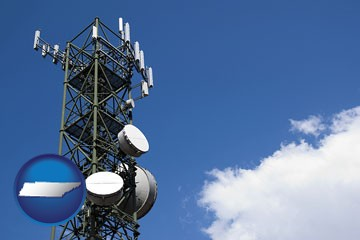 a telecommunications tower, with blue sky background - with Tennessee icon
