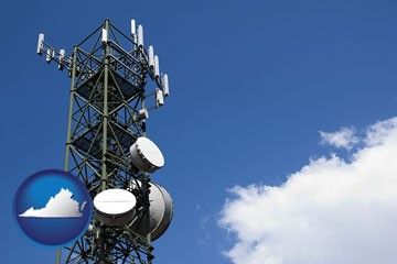 a telecommunications tower, with blue sky background - with Virginia icon