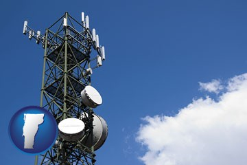 a telecommunications tower, with blue sky background - with Vermont icon
