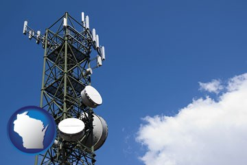 a telecommunications tower, with blue sky background - with Wisconsin icon