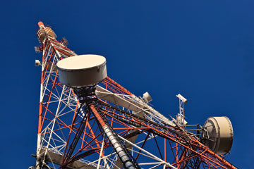 a microwave telecommunications tower